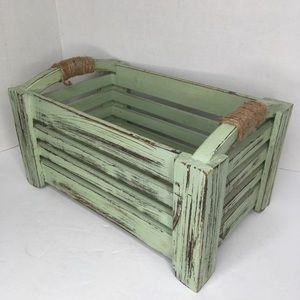 Green wooden Distressed Storage Decor Crate Handle